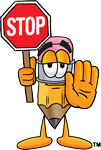 pencil guy with stop sign